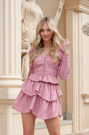 RUSALIN - COTTON SET WITH FLOWERS IN SHADES OF PINK