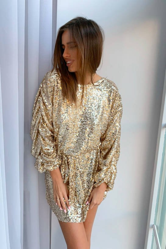 KNITTED DRESS WITH GOLDEN SEQUINS | SHEILA AW20