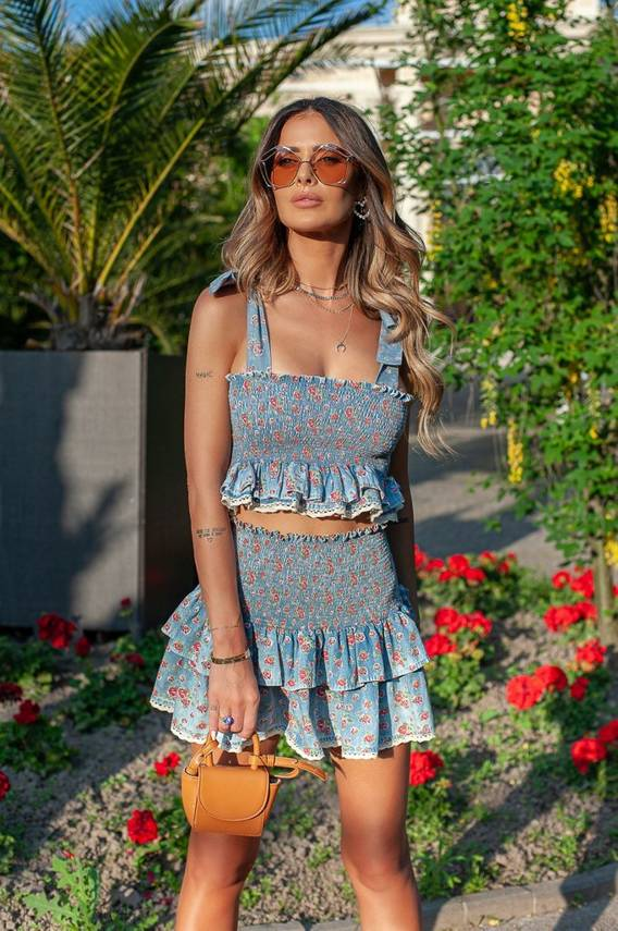 MISSY - DENIM TOP WITH FLOWERED EFFECT