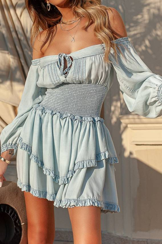 NIKITA - DELICATE DENIM DRESS WITH A WASHED EFFECT